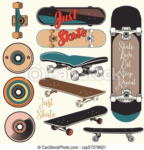 Colección de patinetas vectoriales en estilo antiguo.eps - csp57379621