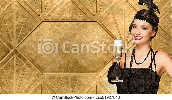 Belleza festiva estilo 20. - csp51927843