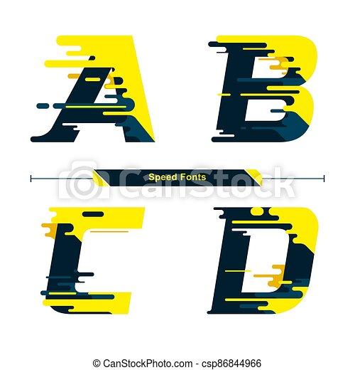 estilo, moderno, abcd, color, conjunto, alfabeto, velocidad, fuente, tipografía - csp86844966