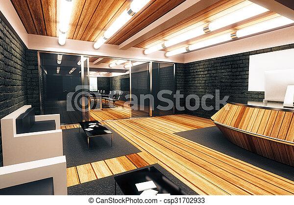 Estilo moderno sala de recepción con entrada a la sala de conferencias - csp31702933