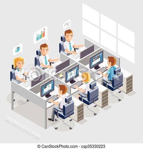 Estilo plano del espacio de trabajo. Gente de negocios trabajando en una oficina. - csp35330223