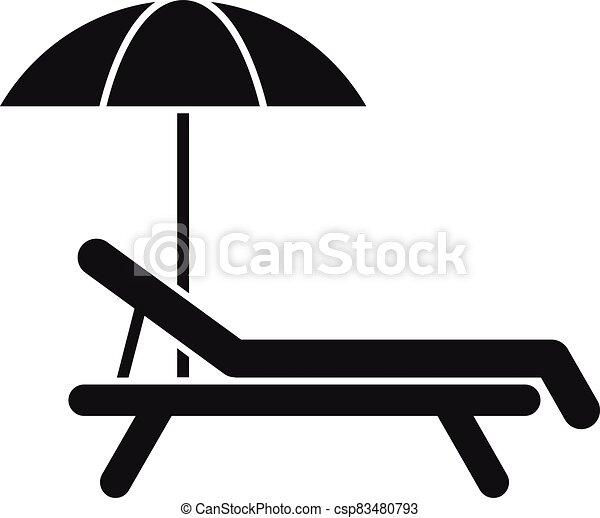 estilo, playa, icono, simple, deckchair - csp83480793