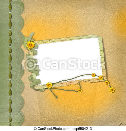 Papeles sucios diseñados al estilo de los álbumes con cuadros y un montón de flores - csp6504213