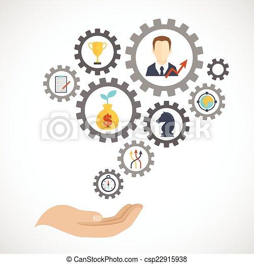 Estrategia de negocios planificación de icono plano - csp22915938