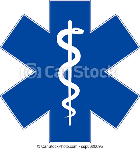 Simbolo de medicina de emergencia, estrella de la vida, aislado en blanco - csp8620095