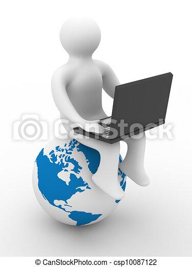 Estudiante con la laptop sentada en el globo. Imagen 3D. - csp10087122