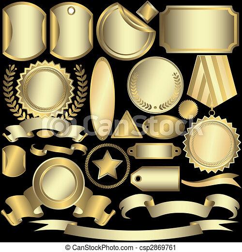 Etiquetas doradas y plateadas (vector) - csp2869761