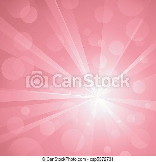 Explosión de luz con brillantes puntos de luz, golpeando fondo abstracto en tonos de rosa. Uso de gradientes radiales y lineales, colores globales. Sin transparencias. Arte agrupado y cubierto. - csp5372731