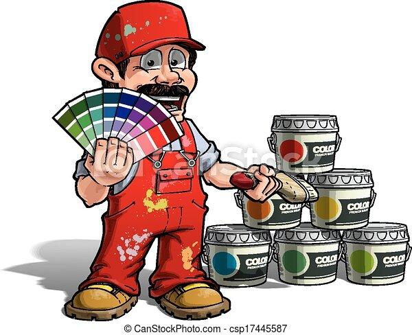 Hábil - color de color uniforme rojo pintor - csp17445587