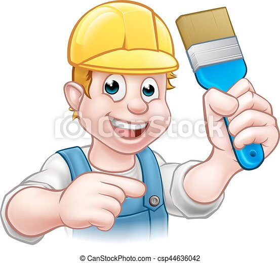 Decorador de pintores manitas con pincel - csp44636042