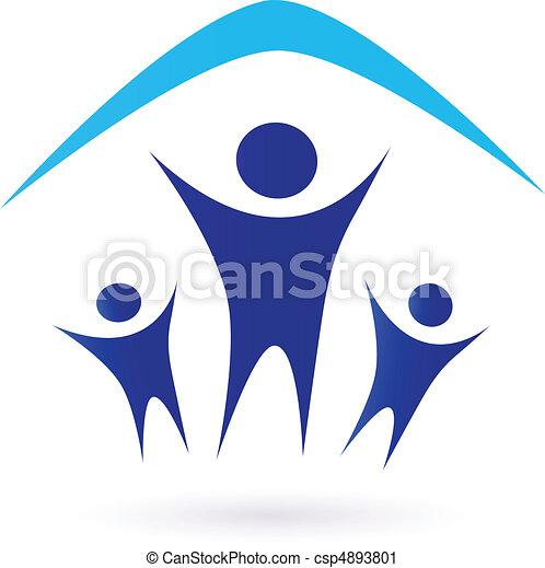 Familia bajo techo, icono - csp4893801