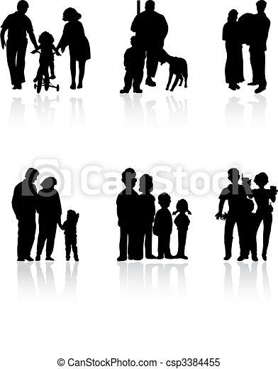 Siluetas de familia de color negro. Una ilustración del vector - csp3384455
