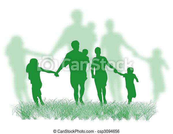 Familia en la hierba - csp3094656