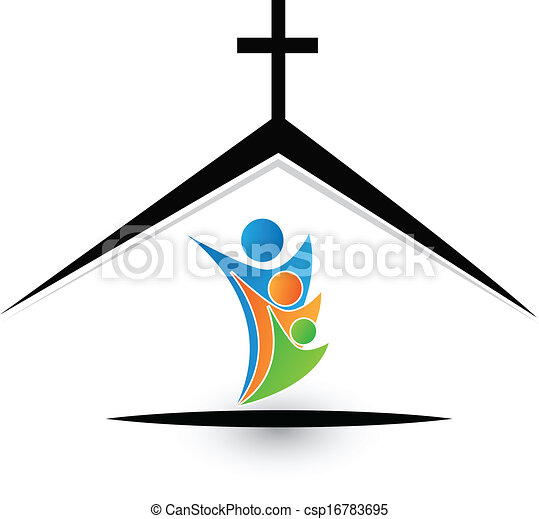 Familia en el logo de la iglesia - csp16783695