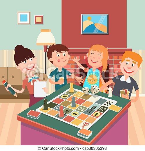 Familia jugando juego de mesa. Feliz fin de semana familiar - csp38305393