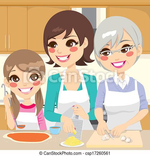 Familia preparando pizza casera - csp17260561