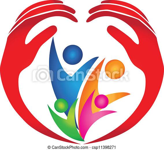 Familia protegida por logotipo de manos - csp11398271