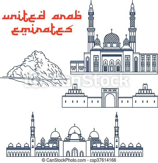 Famosas atracciones turísticas de iconos de línea delgada de UAE - csp37614166