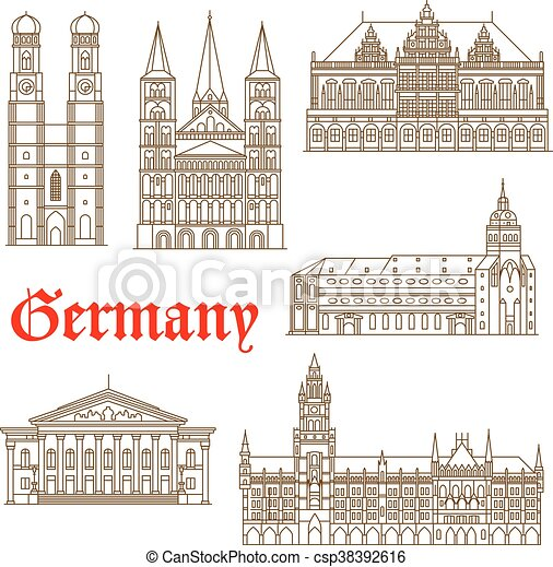 Famosos monumentos de icono de arquitectura alemana - csp38392616