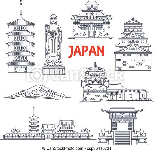 Famosos monumentos de viaje de Japón - csp36410731