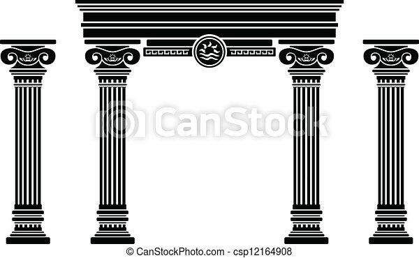 Arco y columnas de fantasía. Stencil - csp12164908