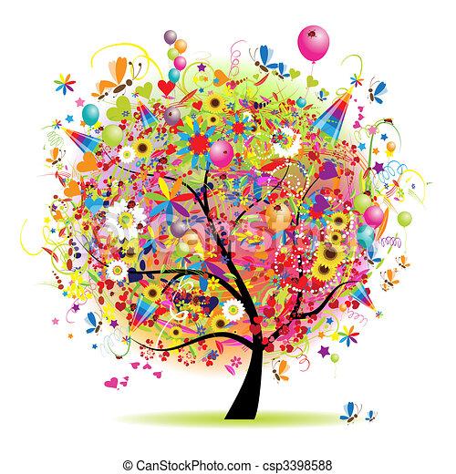 Felices fiestas, árbol divertido con globos - csp3398588