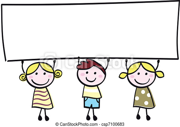 Felices niñitas y niños con estandartes vacíos, ilustraciones de caricaturas. - csp7100683