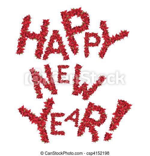 Feliz Año Nuevo de las flores rojas de Navidad aisladas en blanco - csp4152198