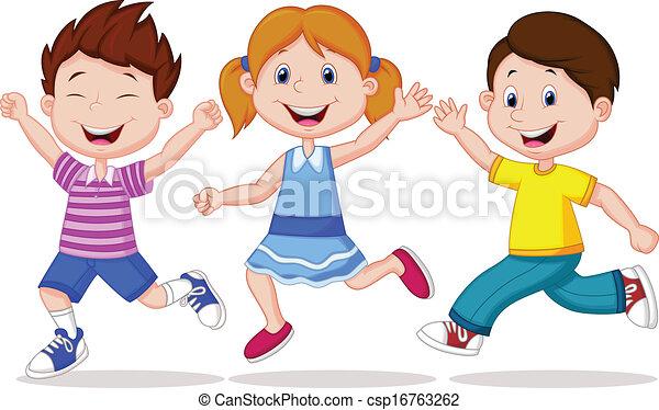 Los niños felices dibujando caricaturas - csp16763262