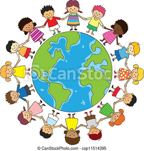 Niños felices tomados de la mano - csp11514395
