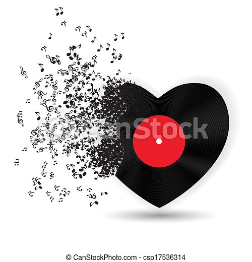 Feliz tarjeta de San Valentín con corazón, notas musicales. Ilustración de vectores - csp17536314