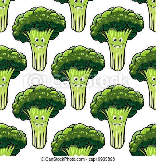 Feliz y saludable patrón de brócoli sin costura - csp19933898