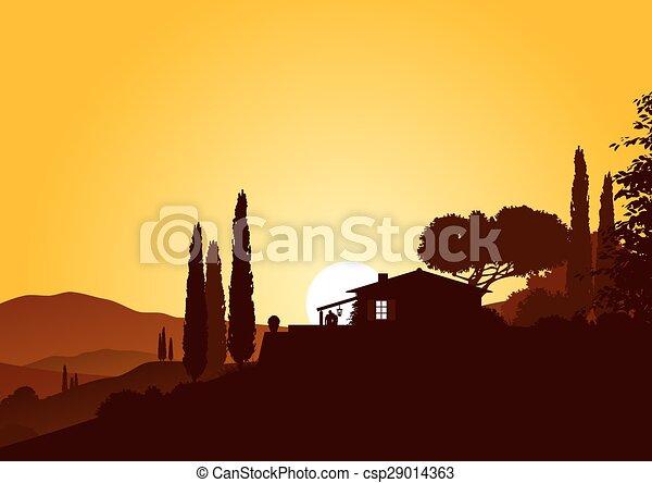 Sundown y casa de vacaciones - csp29014363