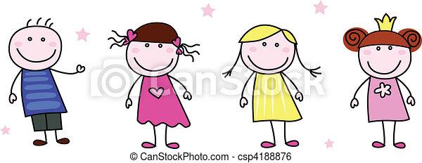 Figuras de palo - niños garabatos - csp4188876