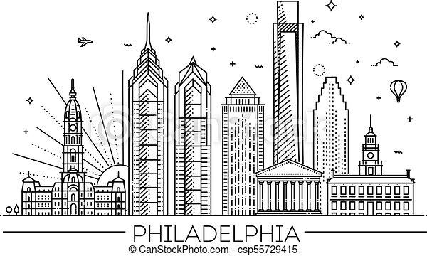 Filadelfia. Pennsylvania USA. Skyline con panorama - csp55729415