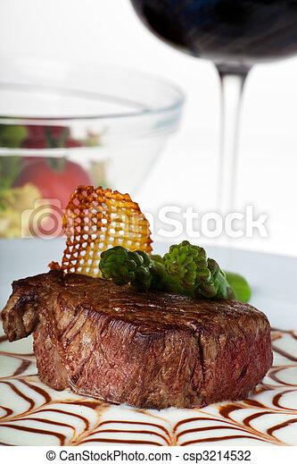 Filete, espárrago, espárragos, espárragos, espárragos, patatas, vino, ensalada, lechuga, bife, azul, verde, verde - csp3214532