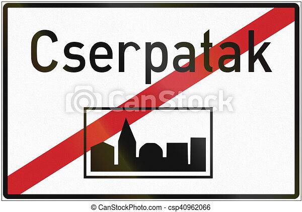 Señal de carretera regulatoria húngara, fin del área construida - csp40962066