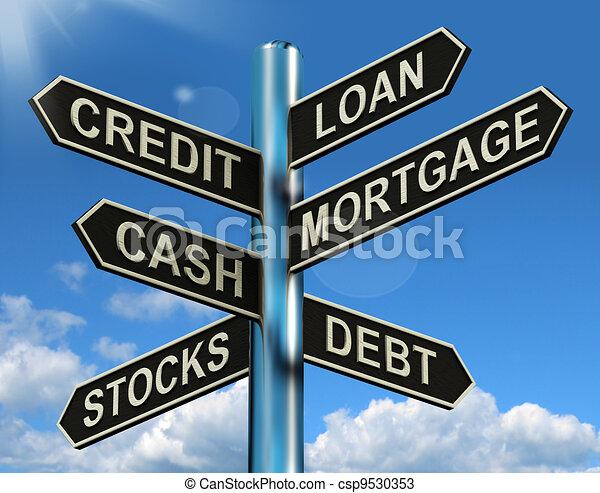 Señales de préstamos de crédito que muestran préstamos financieros y deudas - csp9530353