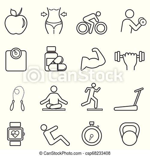 Fitness, íconos de línea de dieta - csp68233408