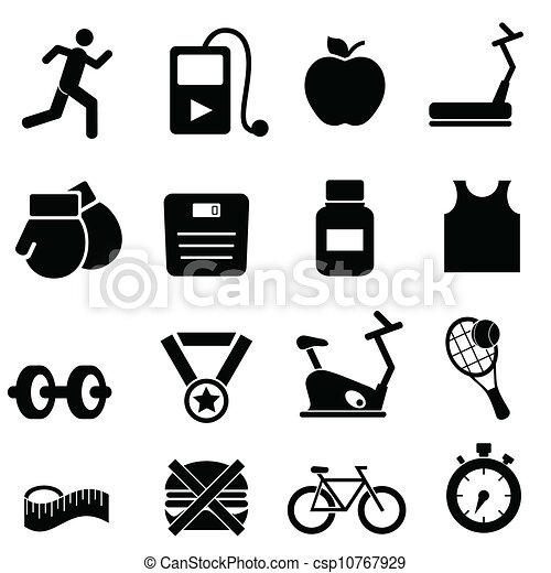 Fitness, salud y íconos de dieta - csp10767929