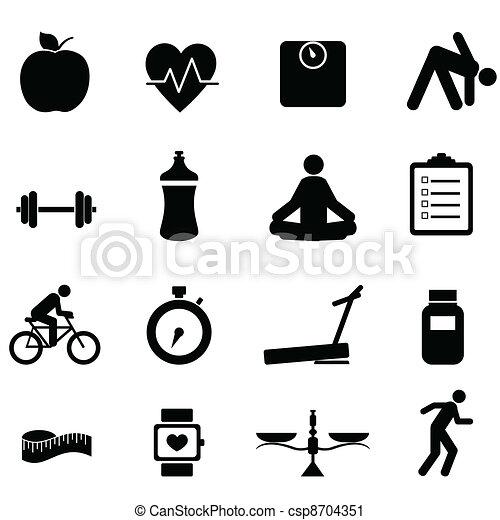 Fitness y iconos dietéticos - csp8704351