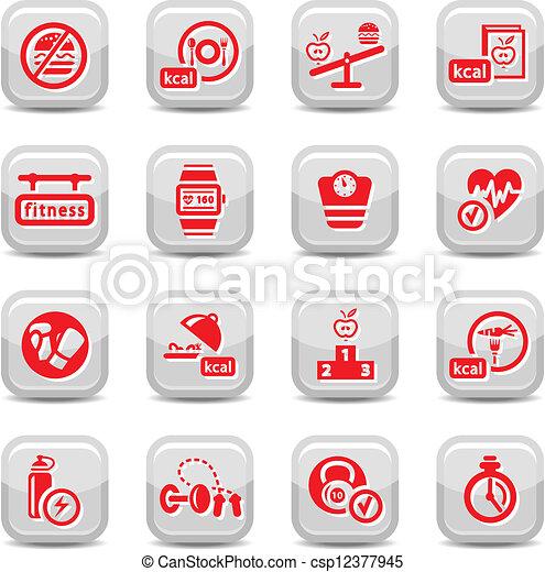 Fitness y iconos dietéticos - csp12377945
