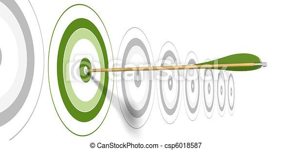 Flecha verde, golpeando el centro del blanco verde con blancos grises en el fondo - csp6018587