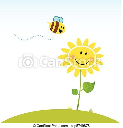Flor de primavera feliz con abeja - csp5749878