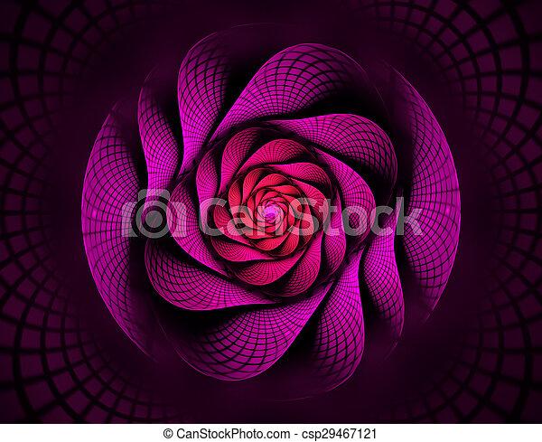 Una espiral fractal en flor roja interesante - csp29467121