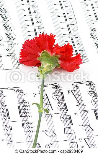 Flor de clavel rojo en notas musicales - csp2938469