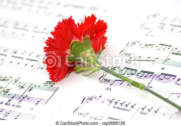 Flor de clavel rojo en notas musicales - csp3689128