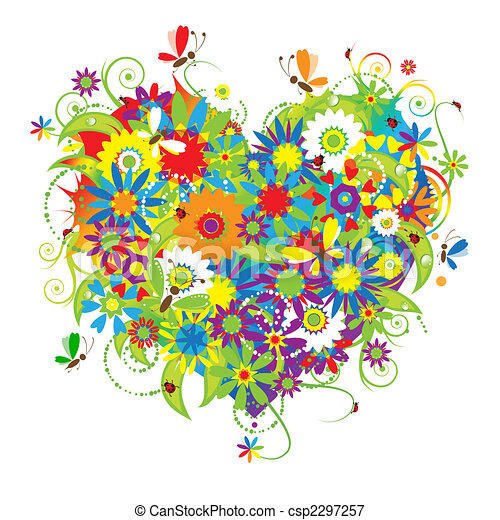 Forma del corazón floral, amor - csp2297257