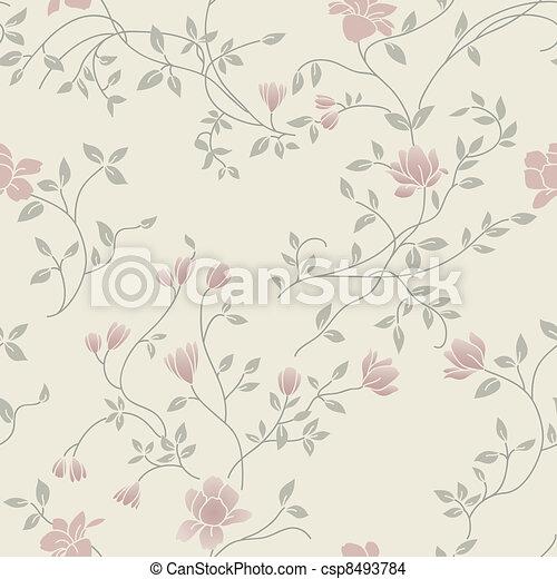 Patrón de cosecha floral sin costura - csp8493784