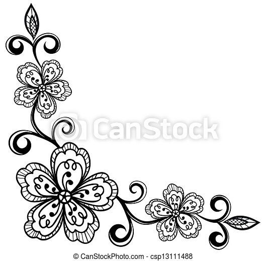 Flores de encaje adornado. Bla - csp13111488